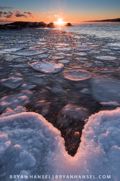 Sunset over Lake Superior and Pancake Ice 2