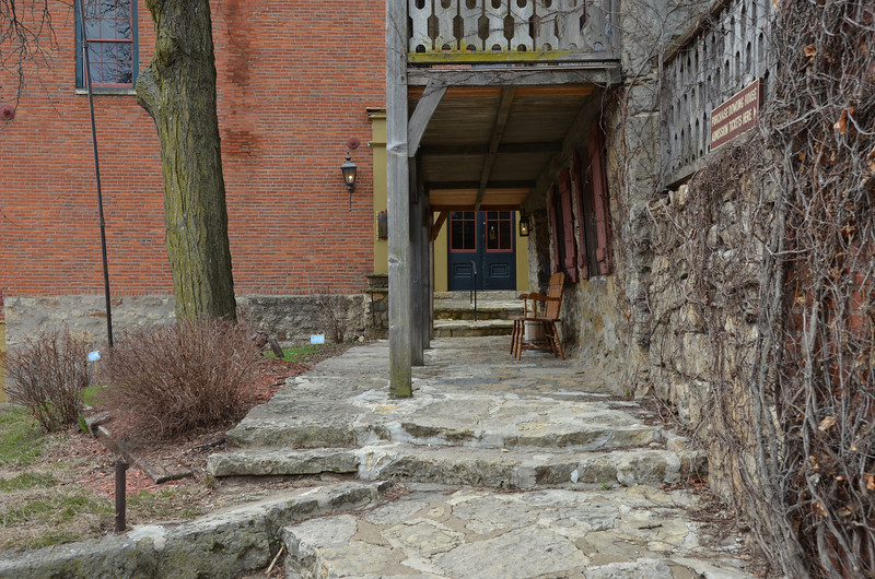 Front porch of the Dowling House, oldest home in Galena. 1826