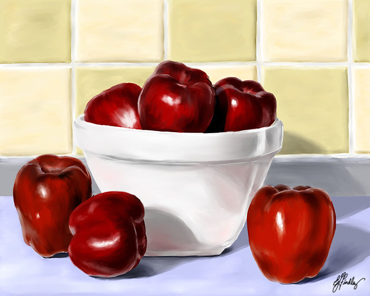 The initial take on the shading of the tiles.  Needs some refinement.  The next version I post will more than likely be the final version.  I will refine the background shading, add the apple stems, and finish adding any little details that I think it needs.  I also need to go in and add some yellow and blue reflections on the bowl.