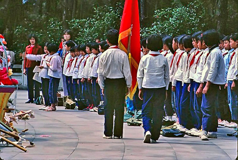 School kids on a field trip to a central Guangzhou park.  It does not appear as if the teacher was keen on having me photograph the ceremony.
