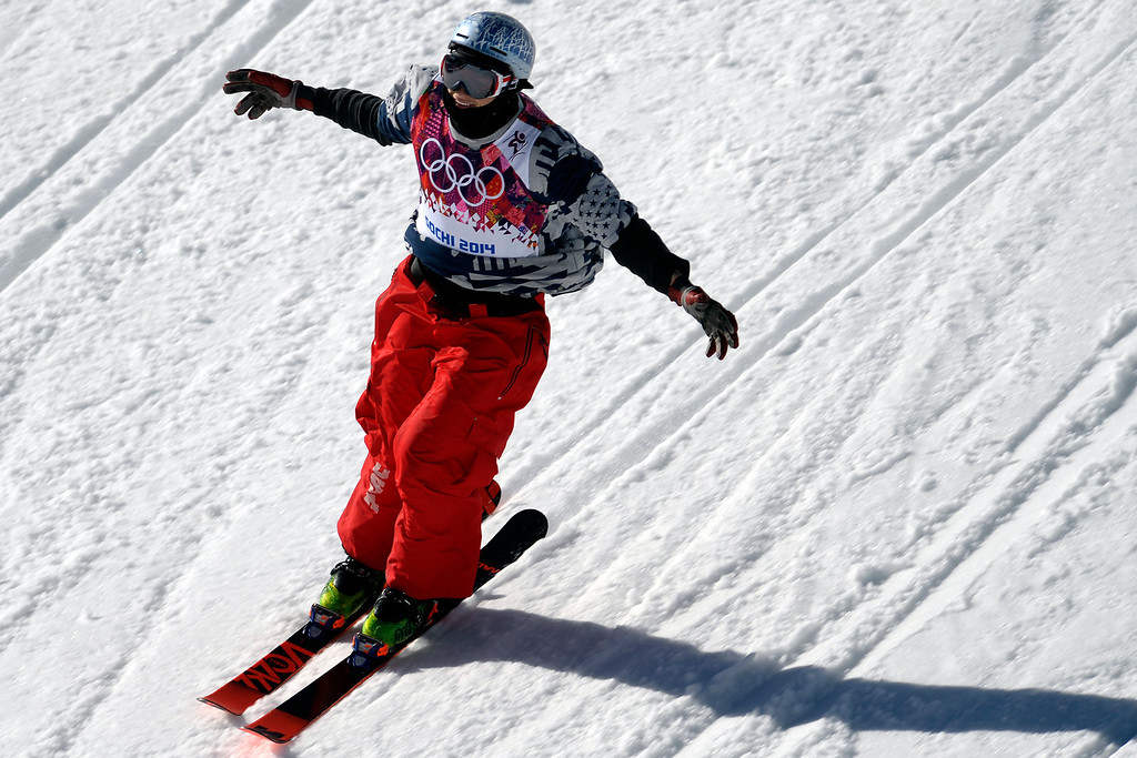 . U.S.A. skier Nick Goepper reacts to his third place standing during the men\'s ski slopestyle final at the Rosa Khutor Extreme Park. Sochi 2014 Winter Olympics on Thursday, February 13, 2014. (Photo by AAron Ontiveroz/The Denver Post)