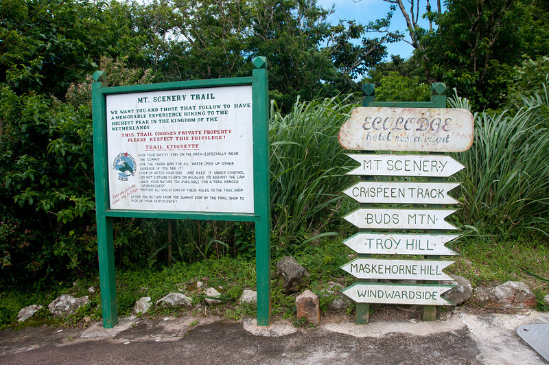 Road and trail signs on the island of Saba