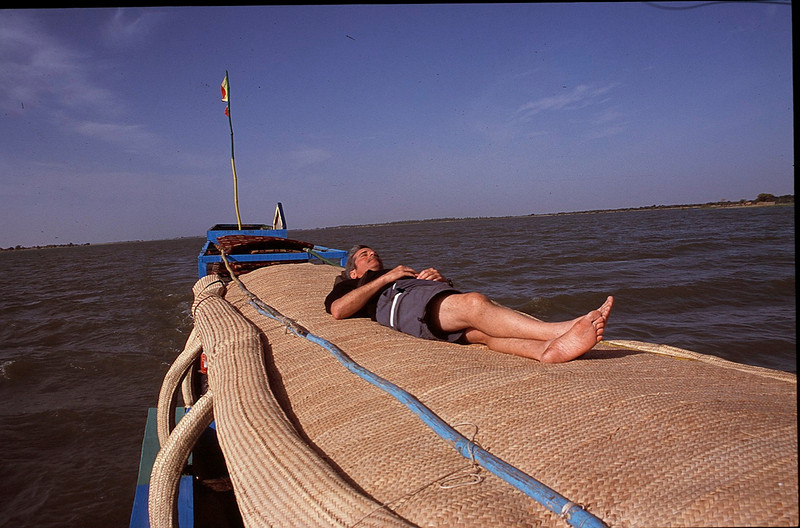 Cliff asleep on the Niger River