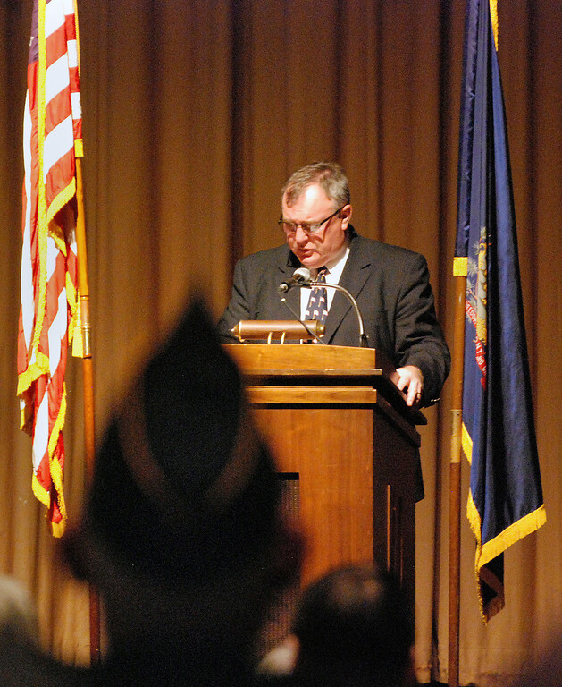 . Kayla Rice/Reformer Teacher Richard Long speaks at Kurn Hattin School\'s Eighteenth Annual Veterans Day Observance.