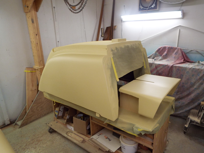 Engine box with three coats of primer applied.