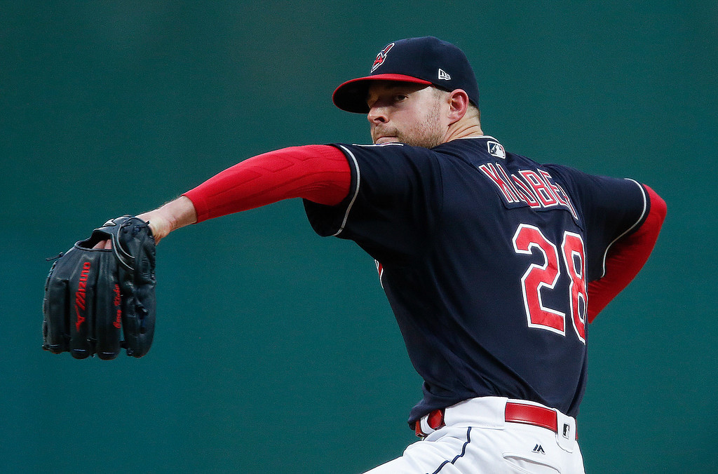 . Cleveland Indians starting pitcher Corey Kluber delivers against the Detroit Tigers during the first inning in a baseball game, Tuesday, Sept. 12, 2017, in Cleveland. (AP Photo/Ron Schwane)