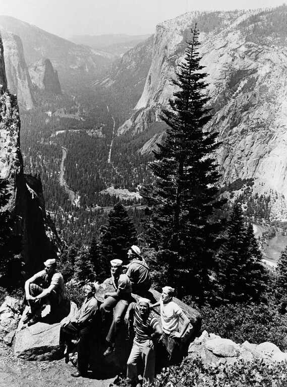 . A group of sailors admire the beautiful valley of the Yosemite in the Yosemite National Park in California, Feb. 13, 1945. The Navy men are sent to the U.S. Naval Convalescent Hospital in the Park to get well and strong in one of the world\'s most beautiful and peaceful spots. Before the war the hospital was the Apwahnee Hotel, a tourist resort operated by the Interior Department. (AP Photo)