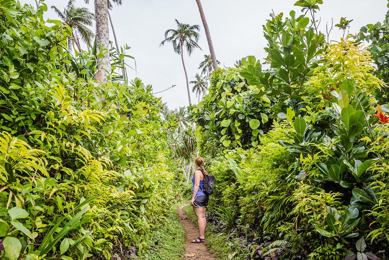 Lina Stock hiking the Lavena Coastal Trail in Fiji