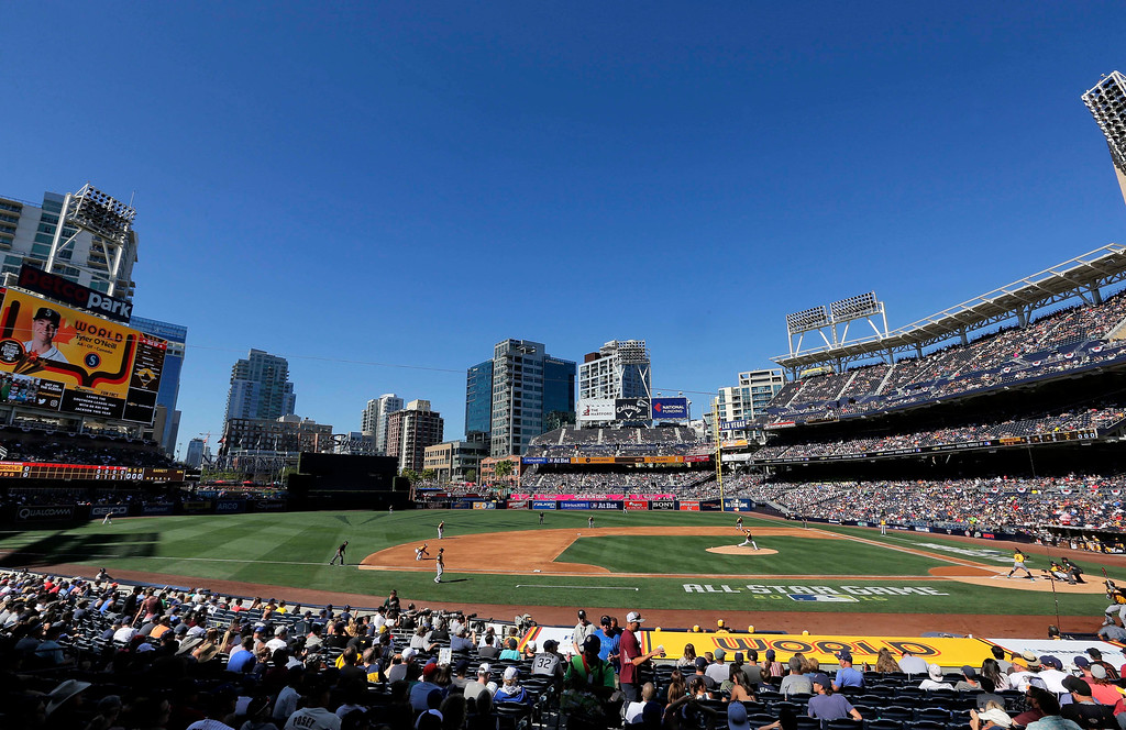 . The U.S. Team and the World Team compete during the first inning of the All-Star Futures baseball game, Sunday, July 10, 2016, in San Diego. (AP Photo/Matt York)