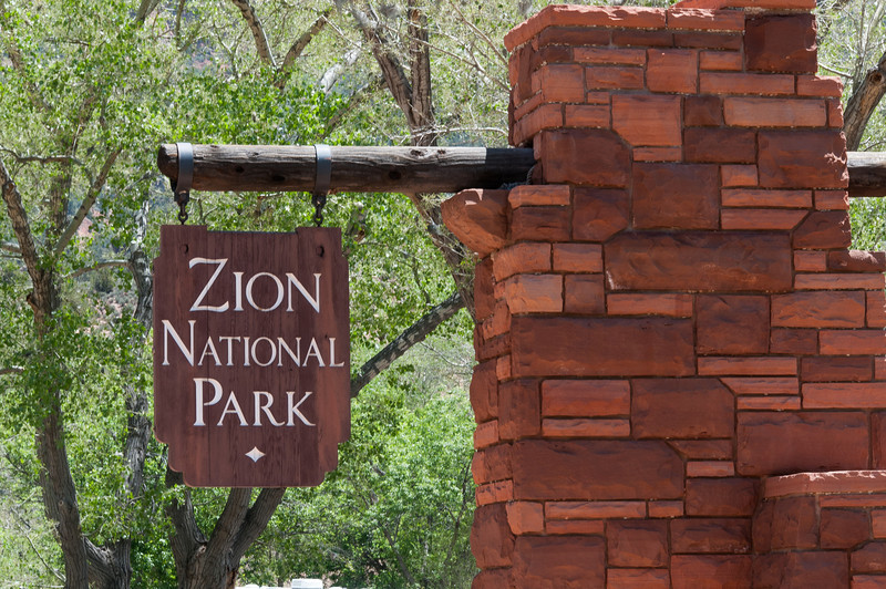Sign at the entrance to Zion National Park, Utah