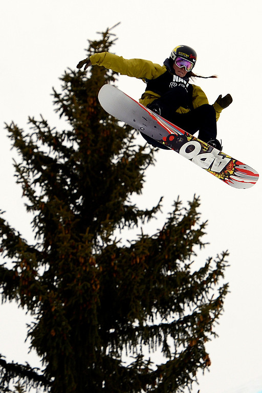 . ASPEN, CO - JANUARY 26: Spencer O\'Brien grabs air during the women\'s snowboard slopestyle final. X Games Aspen Buettermilk Mountain Aspen January 26, 2013 (Photo By AAron Ontiveroz / The Denver Post)