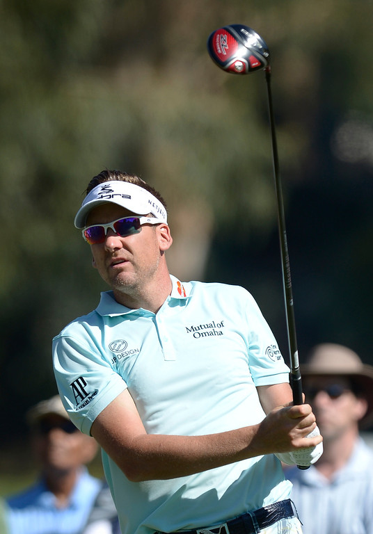 . Ian Poulter on the 2nd tee during the second round of the Northern Trust Open. Pacific Palisades, CA. February 13, 2014 (Photo by John McCoy / Los Angeles Daily News)