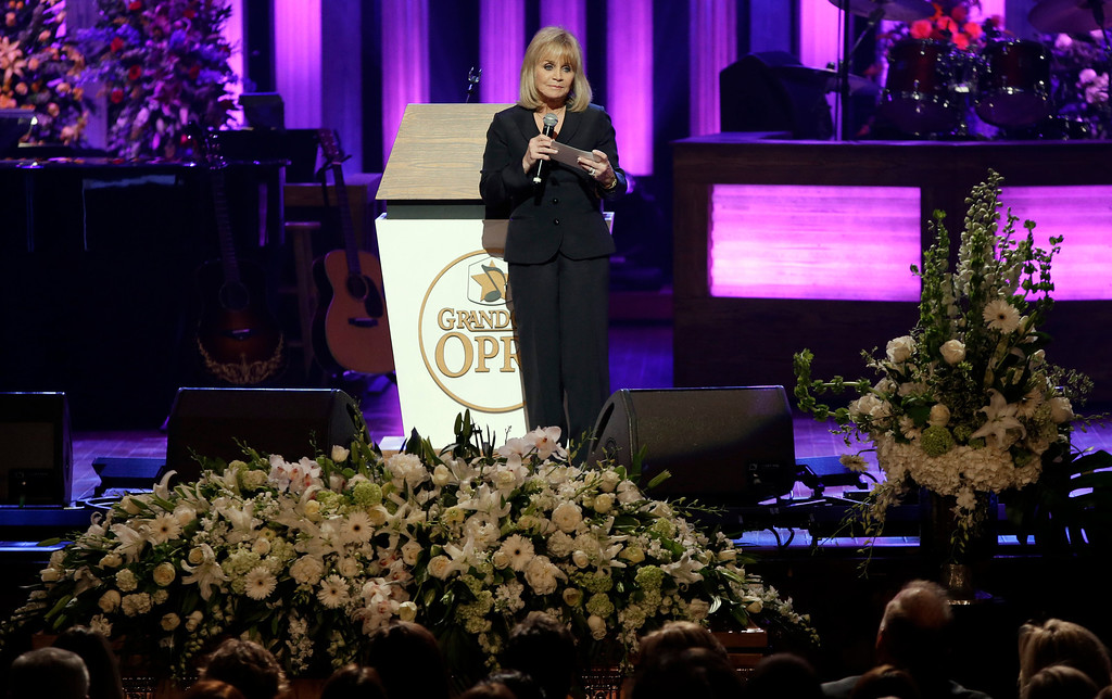 . Barbara Mandrell speaks during the funeral for country music star George Jones in the Grand Ole Opry House on Thursday, May 2, 2013, in Nashville, Tenn.  (AP Photo/Mark Humphrey, Pool)