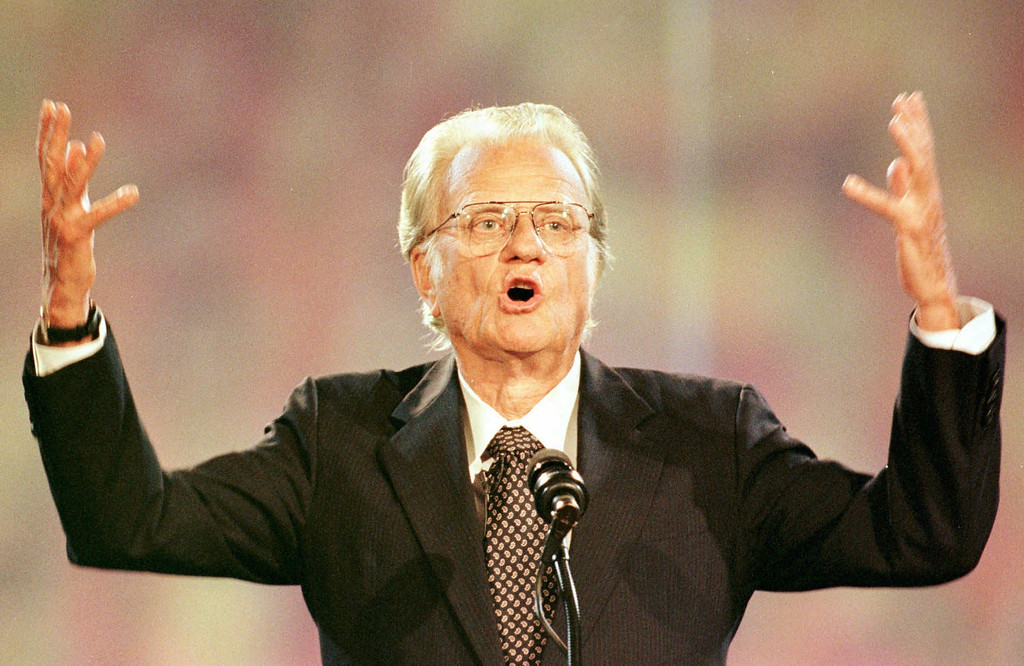 . Rev. Billy Graham speaks to a crowd of more than 70,000 at Ericsson Stadium in Charlotte, N.C., Thursday, Sept. 26, 1996 on the first night of the Carolinas Billy Graham Crusade.  (AP Photo/Peter A. Harris)