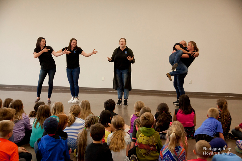 Havre Daily News/Floyd Brandt  New Life Drama Troupe performs at the Havre Boys and Girls Club Tueasday. Traveling from Phonix Airzona to perform for school children. The troupe (left) Kailena McElroy, Isabella Thomason, Amanda Cowell, Dustin Hake-Thailing  and Josiah Thomas perform a skit on bulling.