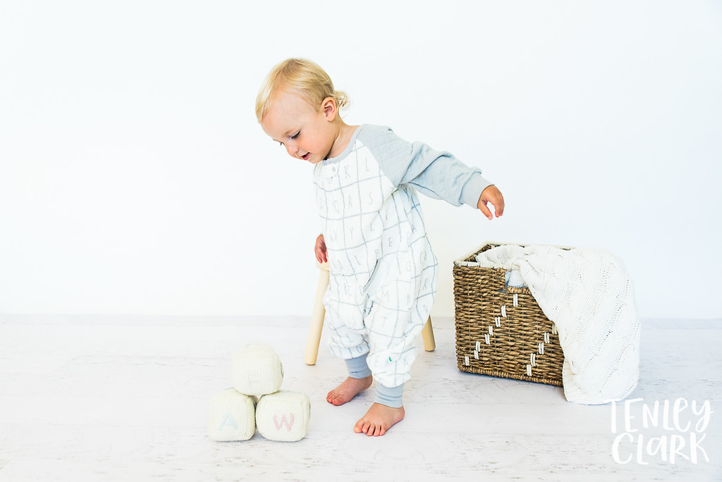 Bay Area commercial studio baby and toddler sleepsack photoshoot by Tenley Clark Photography with Tealbee Baby.