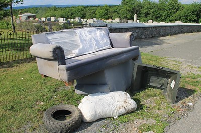 Littered Couch in Cemetery, Summit Hill (6-22-2014)
