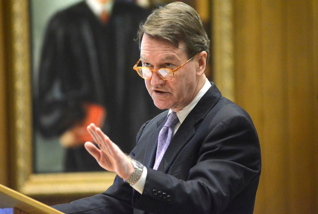 . Berkshire District Attorney David Capeless gives his closing statement for the Adam Lee Hall trial in Springfield on Monday, Feb. 3, 2014. Hall is being tried for the murder of three men, one of wich was a potential witness against hall in another case. (AP Photo/ Gillian Jones, Berkshire Eagle Staff)