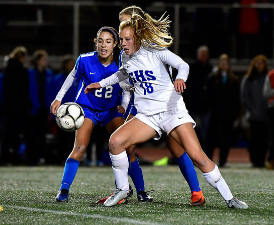 11/23/2019 Mike Orazzi | StaffrSouthington High Schools Morgan Hubert (22) and Glastonbury's Madison McGraw (18) during the Class LL Girls State Soccer Tournament at Veterans Stadium in New Britain Saturday evening. Glastonbury won 1-0. r