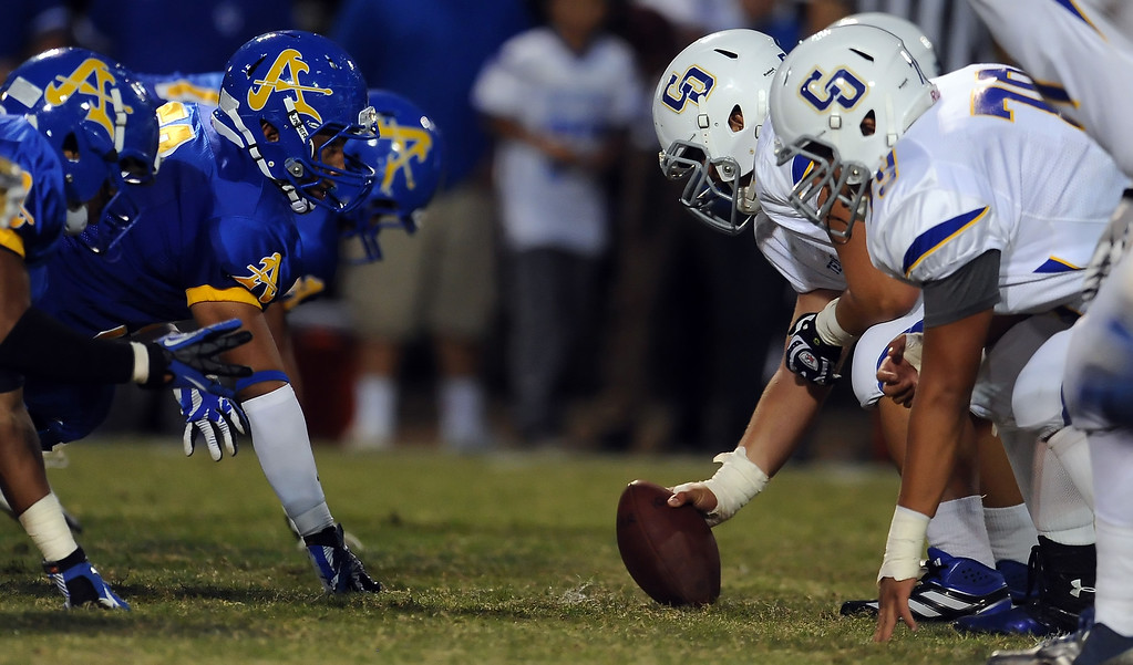 . Charter Oak vs. Charter Oak during a prep football game at Bishop Amat High School in La Puente, Calif. on Friday, Sept. 20, 2013.    (Photo by Keith Birmingham/Pasadena Star-News)
