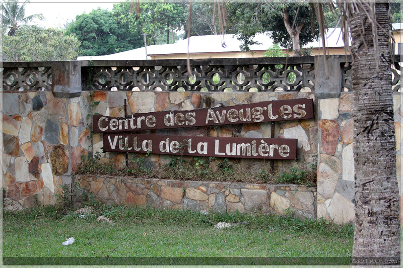 The sign for the Centre where we stayed for the week.  It is a school for blind children.
