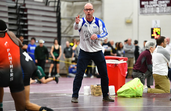 2/22/2020 Mike Orazzi | StaffrBristol Eastern Wrestling Coach Bryant Lishness during the Class L State Wrestling Tournament held at Bristol Central High School on Saturday.