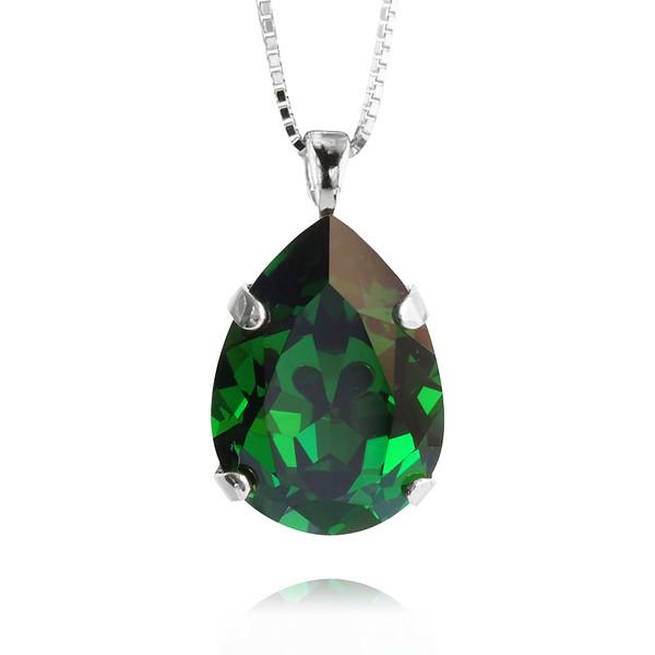 Mini Drop Necklace / Dark Moss Green / Rhodium