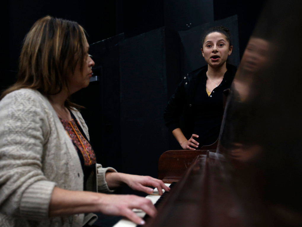 . Alicia Nelson, right, sings with while Dolores Duran, musical director for Great America, as she plays the piano during her audition during a casting call for Great America theme park for their various characters and dancers in Hall Todd Theatre at San Jose State University on Wednesday, Feb. 6, 2013.  (Nhat V. Meyer/Staff)