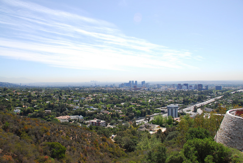 Overlooking view of the Los Angeles skyline from the Cactus Garden in Getty Center