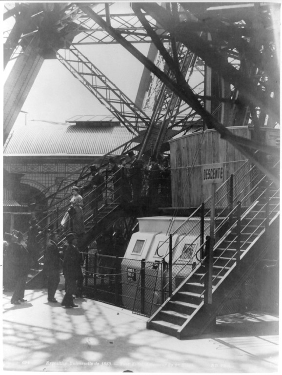 . Paris Exposition; steps to the first stage of the Eiffel Tower, Paris Exhibition 1889 (Library of Congress Prints and Photographs Division)