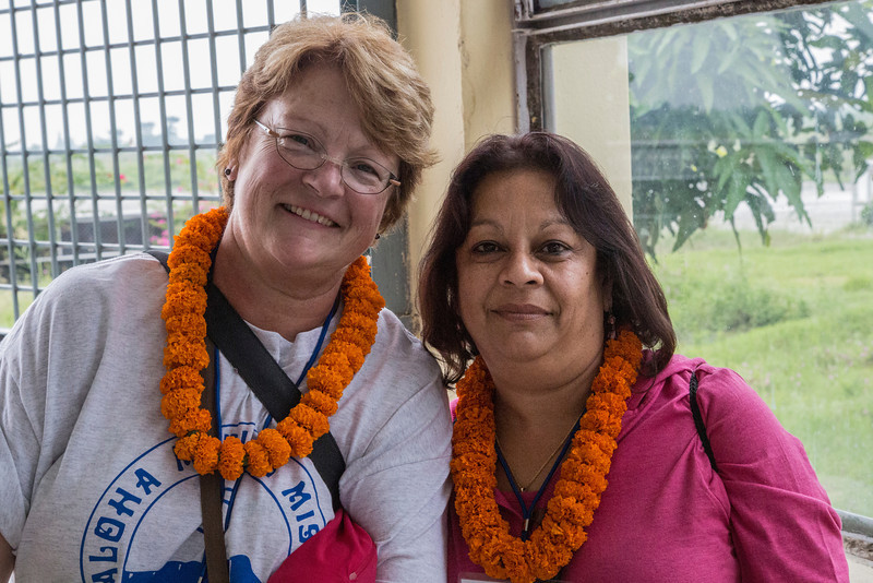 Nancy Loehrke, Shrilekha Champaneri at the Biratnagar airport.