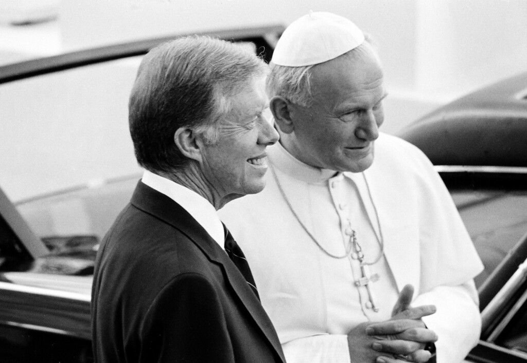 . DC AP - President Jimmy Carter smiles after welcoming Pope John Paul II to the White House Saturday, Oct. 6, 1979 in Washington, D.C. (AP Photo)