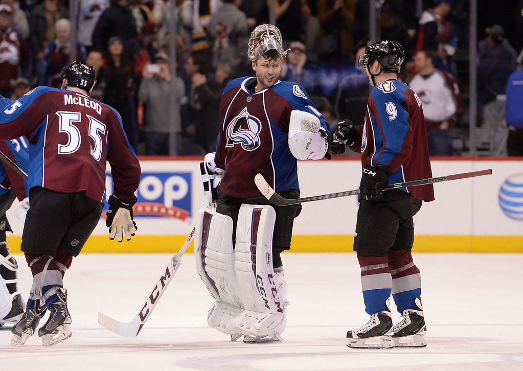 . DENVER, CO - JANUARY 21: Colorado Avalanche goalie Semyon Varlamov (1) fist bumps Colorado Avalanche center Matt Duchene (9) after their 3-2 victory in a shoot out over the Boston Bruins January 21, 2015 at Pepsi Center. (Photo By John Leyba/The Denver Post)