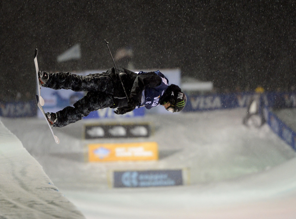 . COPPER MOUNTAIN, CO. DECEMBER 20: Justin Dorey is in action during the ski halfpipe final U.S. Snowboarding Grand Prix. Copper Mountain, Colorado. December 20. 2013. (Photo by Hyoung Chang/The Denver Post)