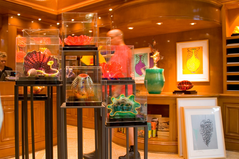 Some Dale Chihuly glass sculptures for sale in the Bellagio art shop.