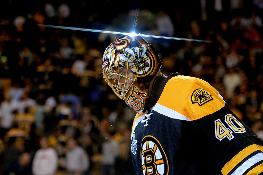 . Tuukka Rask #40 of the Boston Bruins skates off the ice after defeating the Chicago Blackhawks 2-0 in Game Three of the 2013 NHL Stanley Cup Final at TD Garden on June 17, 2013 in Boston, Massachusetts.  (Photo by Harry How/Getty Images)