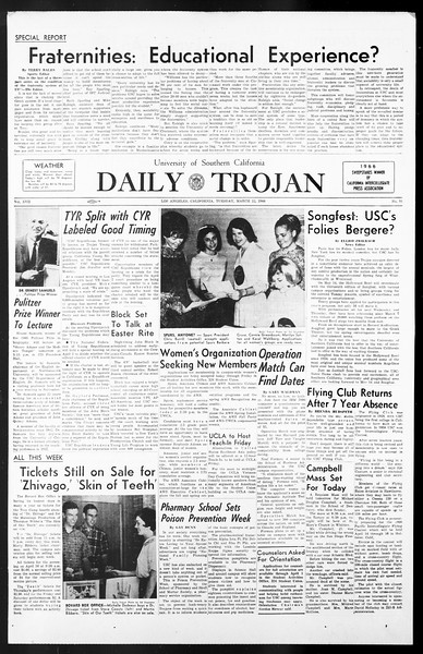 Daily Trojan, Vol. 57, No. 91, March 22, 1966