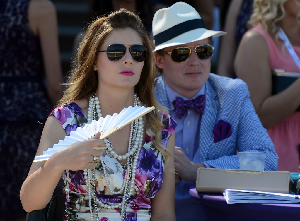 . Fans watch the fourth race during the Breeders\' Cup at Santa Anita Park in Arcadia, Calif., on Saturday, Nov. 2, 2013.    (Keith Birmingham Pasadena Star-News)