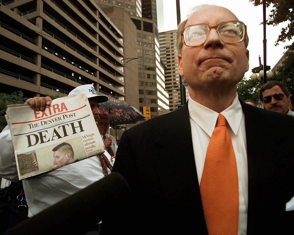 . FILE - In this June 13, 1997 file photo, defense attorney Stephen Jones is seen outside of the U.S. Courthouse in Denver, Colo., after the jury sentenced Timothy McVeigh to death for the 1995 Oklahoma City bombing. McVeigh was sentenced to death and executed. (AP Photo/Susan Sterner)