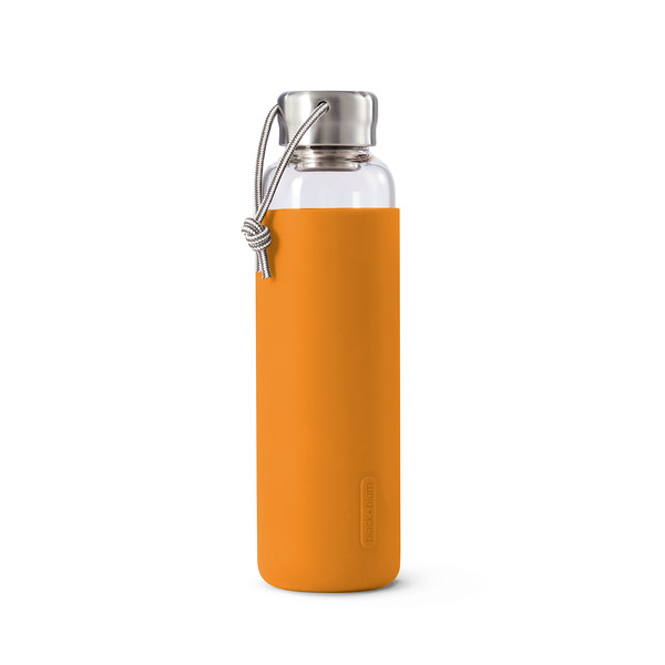 Glass Water Bottle orange Black Blum