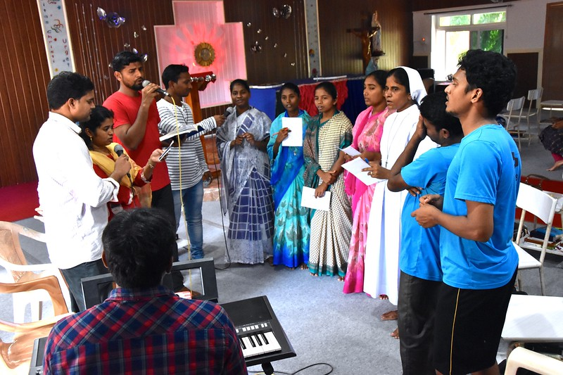 The choir practices for the upcoming celebrations