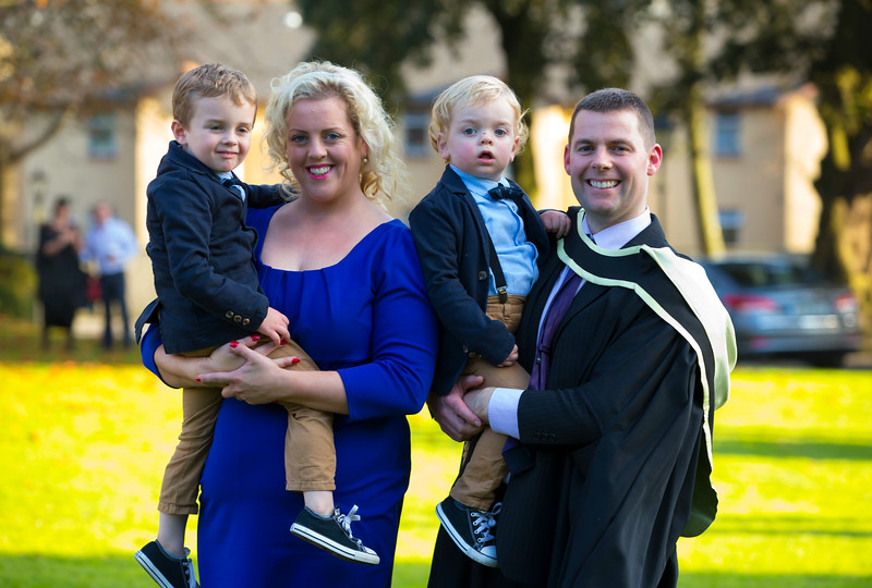 01/11/2017. Waterford Institute of Technology Conferring is Mike Kinsella from Mooncoin, Co. Kilkenny who graduated Master of Arts in Teaching, also pictured are Celina, Charlie and Bobby.  Picture: Patrick Browne