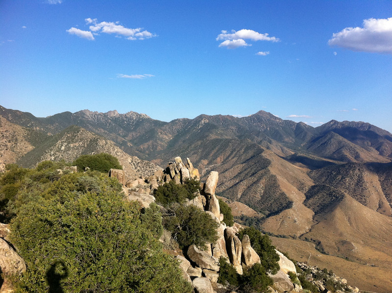 Parallel Benchmark summit view.  Spanish Needle, Owens Peak and Mt. Jenkins.