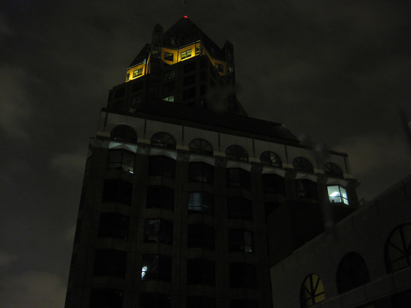 Milwaukee skyline at night (during a snowfall). Taken with my tiny, trusty Canon SD770 P&S.