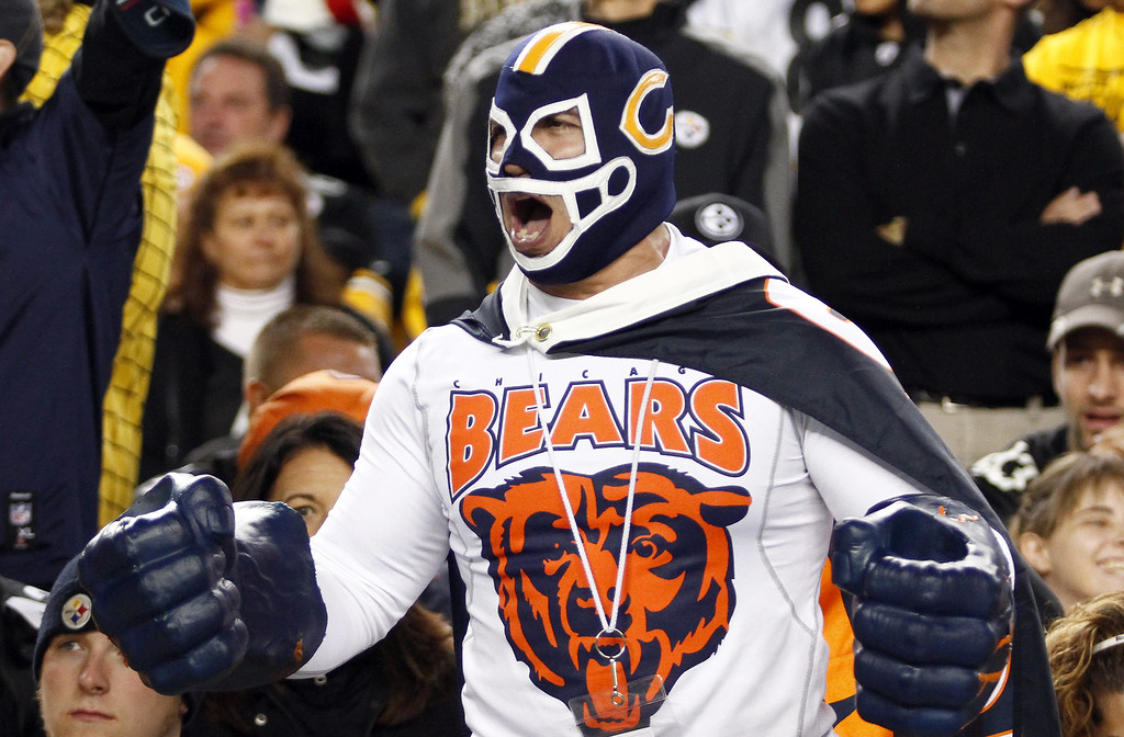 . A Chicago Bears fan cheers against the Pittsburgh Steelers during the game on September 22, 2013 at Heinz Field in Pittsburgh, Pennsylvania.  (Photo by Justin K. Aller/Getty Images)