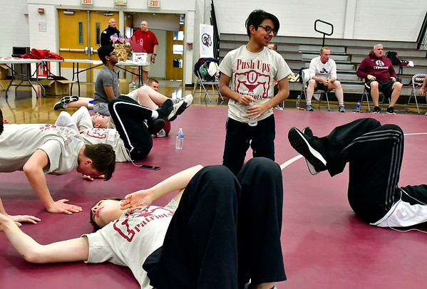 3/8/2019 Mike Orazzi | Staff Push Ups for Patriots at Bristol Central High School Friday afternoon.