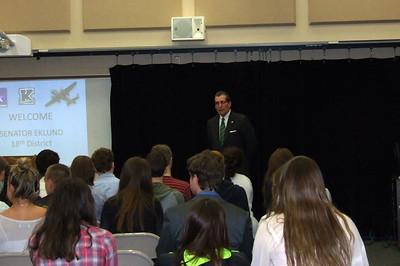 Senator Eklund Speaks to Kenston Students