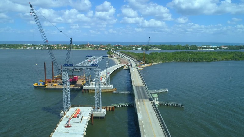 Aerial West Palm Beach Southern Boulevard Bridge construction 4k 60p flyover