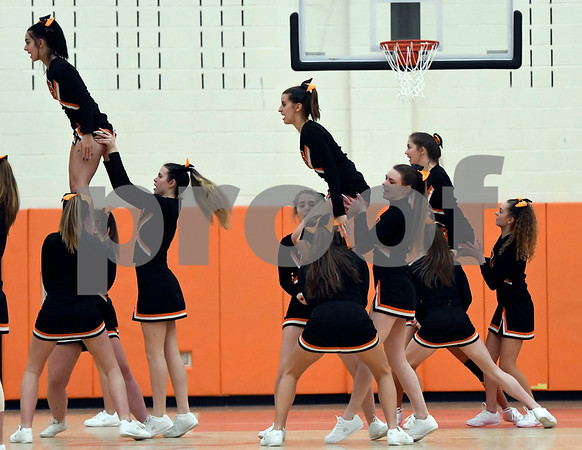 12/12/2017 Mike Orazzi | Staff Terryville High School Cheerleaders during Tuesday night's girl's basketball game with Shepaug.