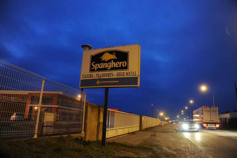 . Motorists drive past the Castelnaudary plant of meat-processing firm Spanghero, on February 19, 2013, ahead of the partial resumption of its activities, one day after France renewed its license which was suspended when it was accused of passing off 750 tons of horsemeat as beef. The firm was allowed to produce minced meat, sausages and ready-to-eat meals but not to stock frozen meats.  ERIC CABANIS/AFP/Getty Images